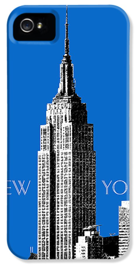 Architecture IPhone 5 Case featuring the digital art New York Skyline Empire State Building - Blue by DB Artist