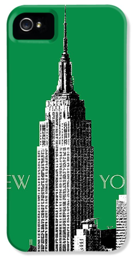 Architecture IPhone 5 / 5s Case featuring the digital art New York Skyline Empire State Building - Forest Green by DB Artist