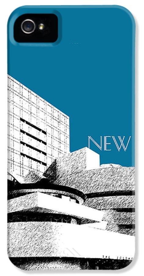 Architecture IPhone 5 Case featuring the digital art New York Skyline Guggenheim Art Museum - Steel Blue by DB Artist