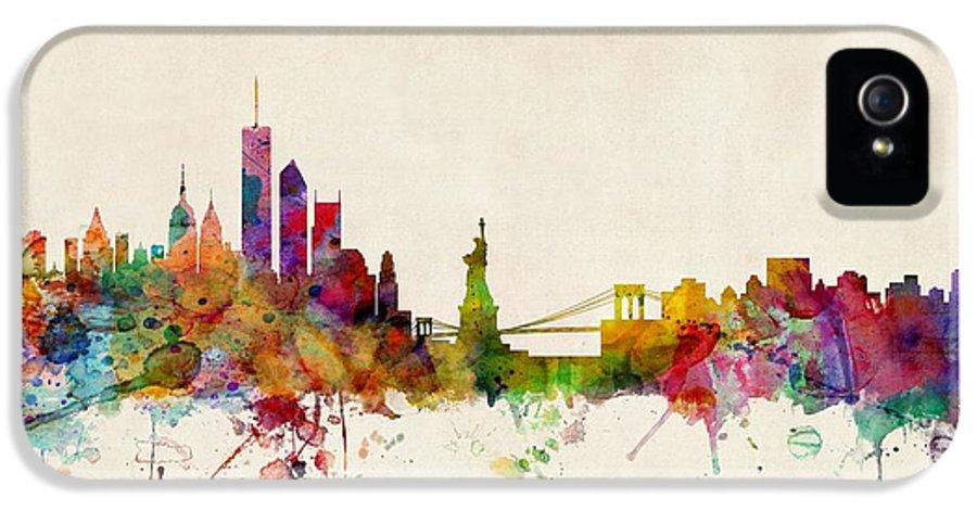 Watercolour IPhone 5 Case featuring the digital art New York Skyline by Michael Tompsett