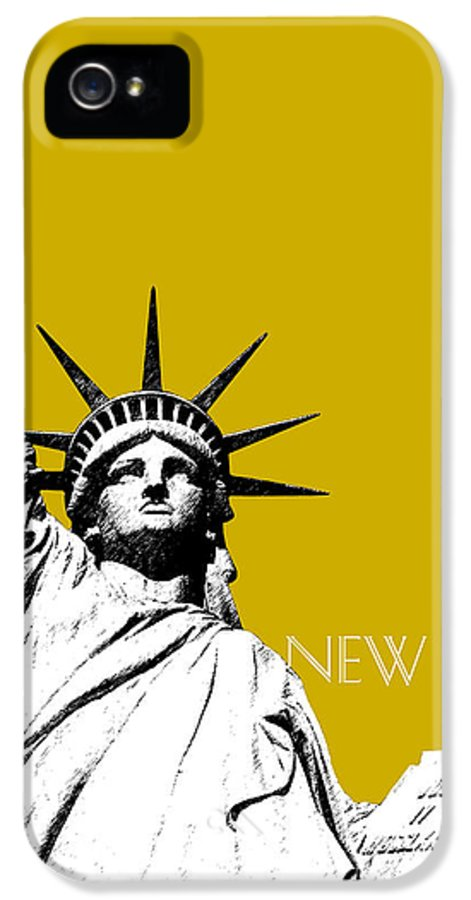 Architecture IPhone 5 Case featuring the digital art New York Skyline Statue Of Liberty - Gold by DB Artist