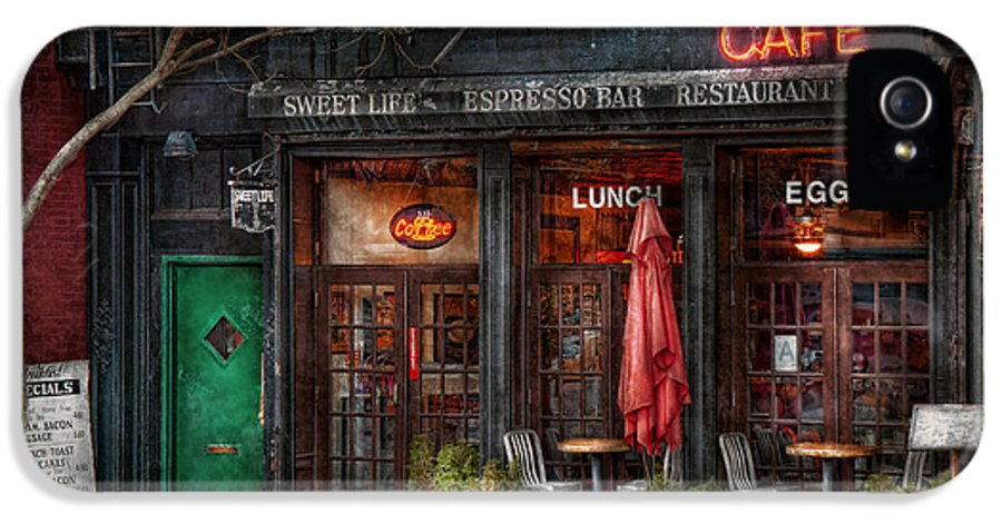 York IPhone 5 Case featuring the photograph New York - Store - Greenwich Village - Sweet Life Cafe by Mike Savad