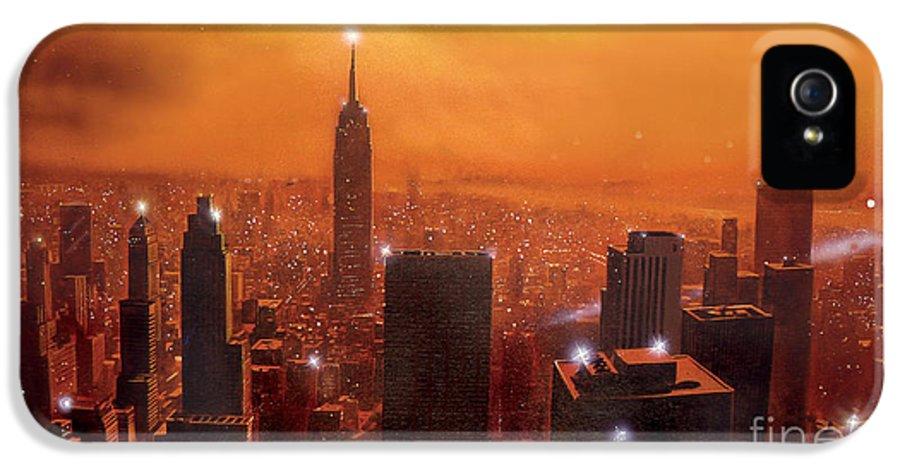 America IPhone 5 Case featuring the digital art New York Sunset by Steve Crisp