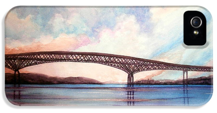 Newburgh - Beacon Bridge IPhone 5 Case featuring the painting Newburgh Beacon Bridge Sky by Janine Riley