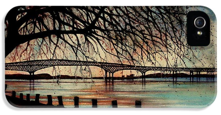 Newburgh Beacon Bridge IPhone 5 Case featuring the painting Newburgh Beacon Bridge Sunset by Janine Riley