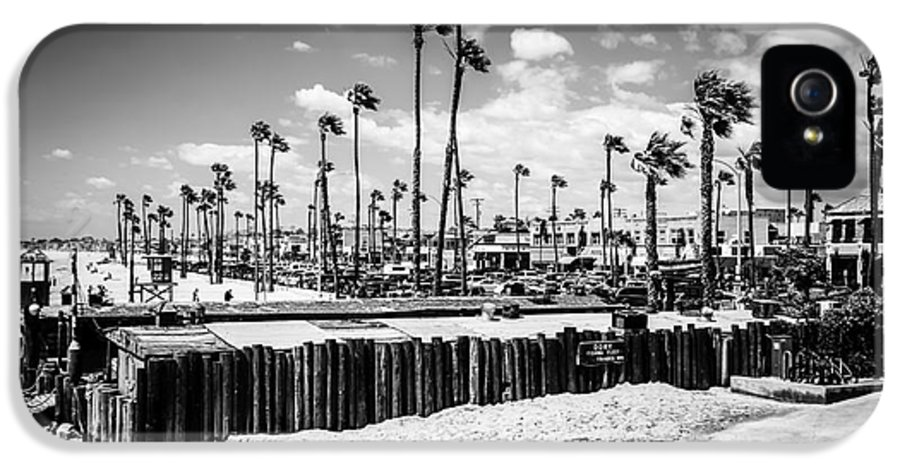 21st Street IPhone 5 Case featuring the photograph Newport Beach Dory Fishing Fleet Black And White Picture by Paul Velgos