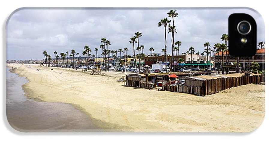 22nd Street IPhone 5 Case featuring the photograph Newport Beach Oceanfront Businesses With Dory Fleet by Paul Velgos