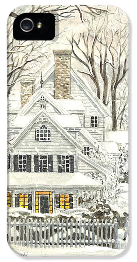 Christmas Cards - Featured Art IPhone 5 Case featuring the painting No Place Like Home For The Holidays by Carol Wisniewski