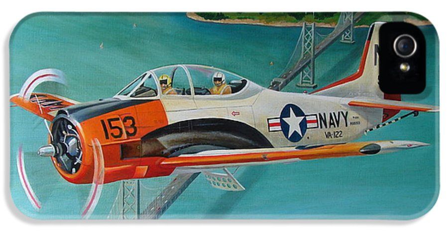 Aviation IPhone 5 Case featuring the painting North American T-28 Trainer by Stuart Swartz