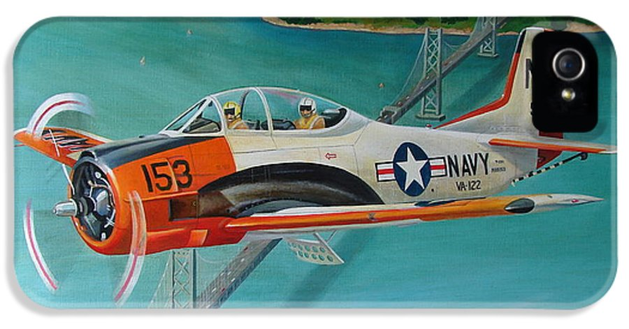 Aviation IPhone 5 / 5s Case featuring the painting North American T-28 Trainer by Stuart Swartz