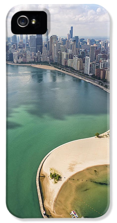 3scape Photos IPhone 5 Case featuring the photograph North Avenue Beach Chicago Aerial by Adam Romanowicz