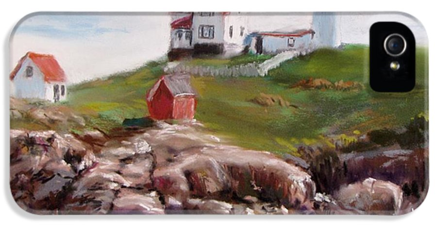 Lighthouse IPhone 5 Case featuring the painting Nubble Lighthouse In Pastel by Jack Skinner