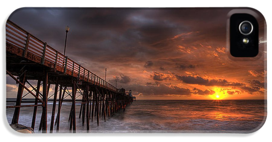 Sunset IPhone 5 Case featuring the photograph Oceanside Pier Perfect Sunset by Peter Tellone