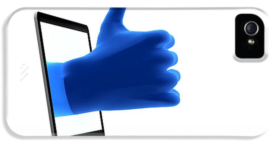 Social IPhone 5 Case featuring the digital art Okay Gesture Blue Hand From Screen by Michal Bednarek