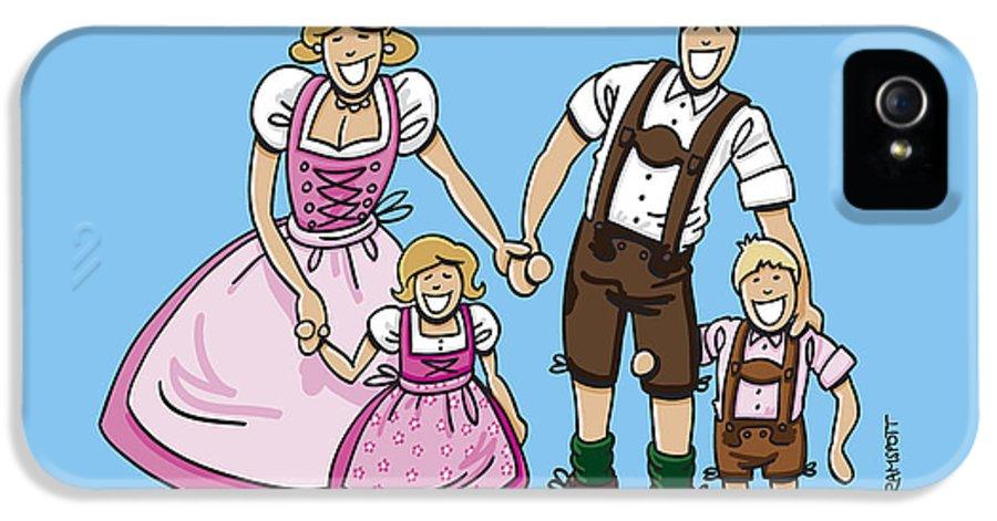 Frank Ramspott IPhone 5 Case featuring the digital art Oktoberfest Family Dirndl And Lederhosen by Frank Ramspott