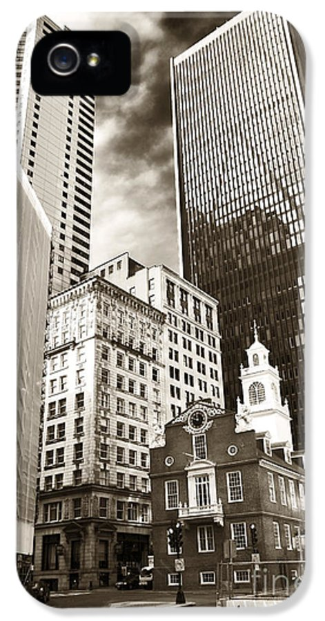 Old And New In Boston IPhone 5 Case featuring the photograph Old And New In Boston by John Rizzuto