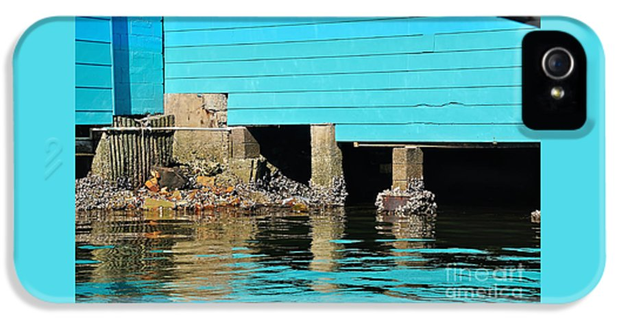 Photography IPhone 5 Case featuring the photograph Old Aqua Boat Shed With Aqua Reflections by Kaye Menner