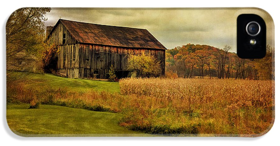 Barn IPhone 5 Case featuring the photograph Old Barn In October by Lois Bryan