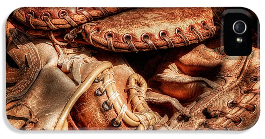 Baseball IPhone 5 Case featuring the photograph Old Baseball Gloves by Bill Wakeley