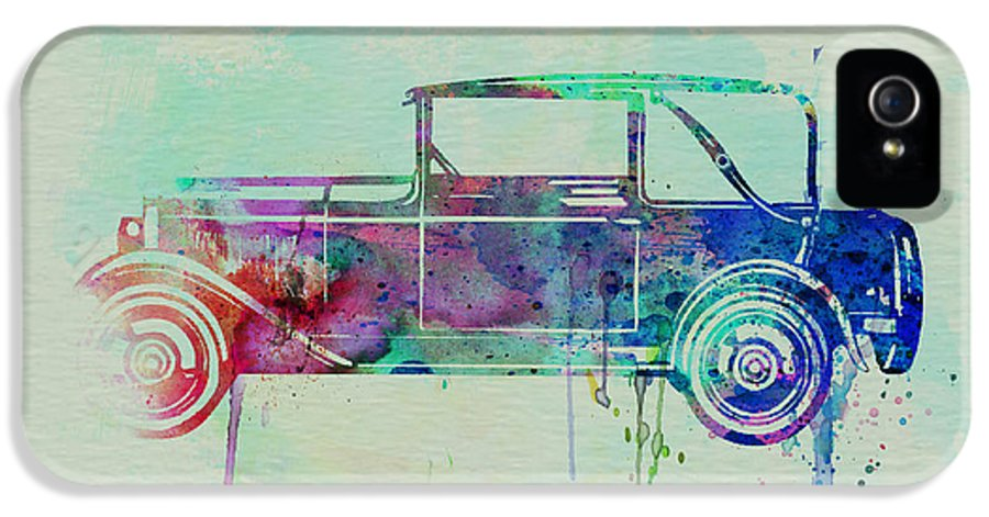 Vintage Car IPhone 5 Case featuring the painting Old Car Watercolor by Naxart Studio