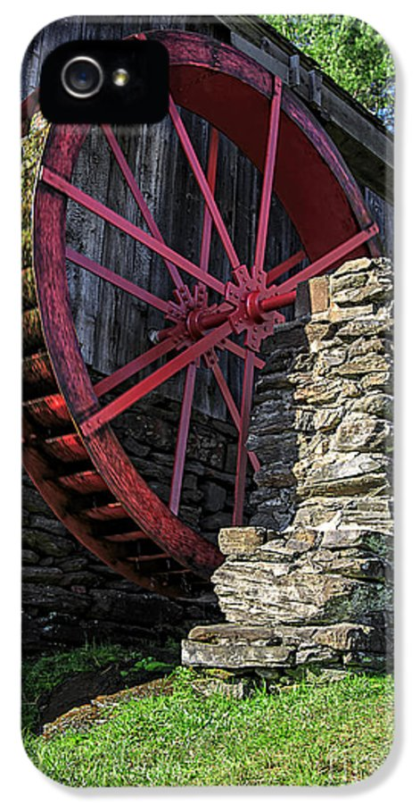 Wheel IPhone 5 Case featuring the photograph Old Grist Mill Vermont by Edward Fielding