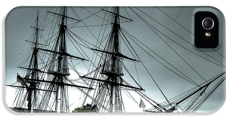 Ship IPhone 5 Case featuring the photograph Old Ironsides Blue Tone by Linda Ryan