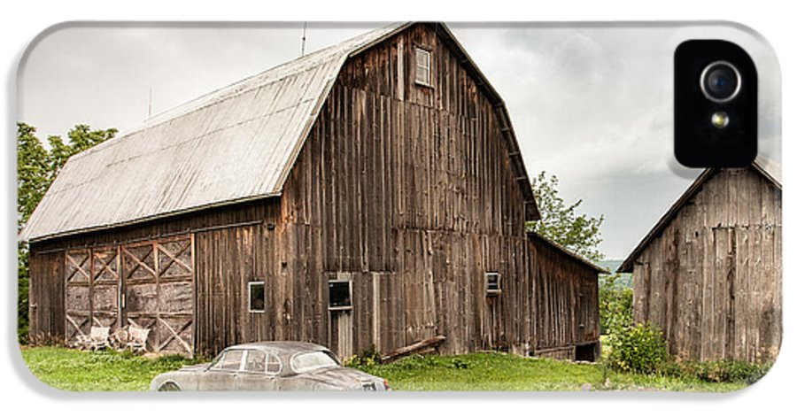 Old Barns IPhone 5 Case featuring the photograph Old Jaguar Homestead - Vintage Americana by Gary Heller
