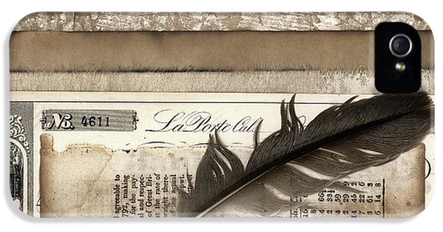 Financial IPhone 5 Case featuring the photograph Old Papers And A Feather by Carol Leigh