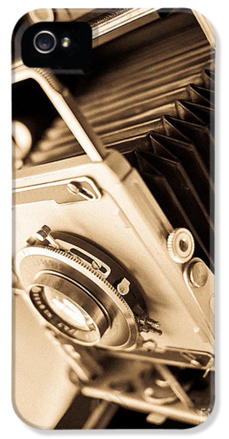 View IPhone 5 Case featuring the photograph Old Press Camera by Edward Fielding