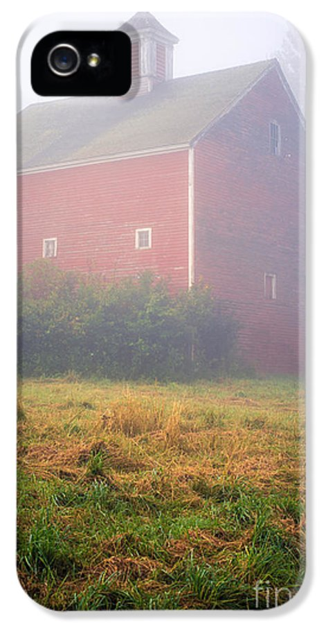 Mist IPhone 5 Case featuring the photograph Old Red Barn In Fog by Edward Fielding