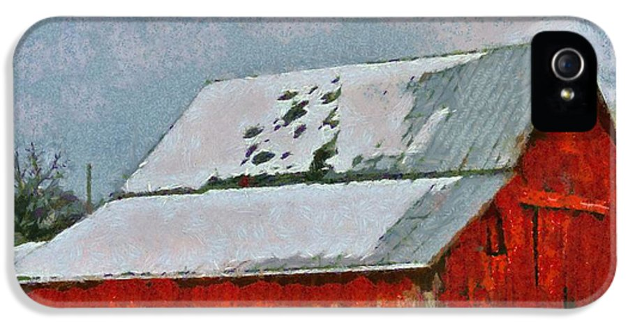 Old Red Barn In Winter IPhone 5 Case featuring the painting Old Red Barn In Winter by Dan Sproul