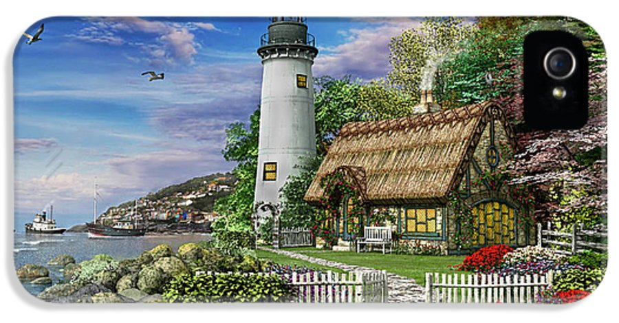 Lighthouse IPhone 5 Case featuring the digital art Old Sea Cottage by Dominic Davison
