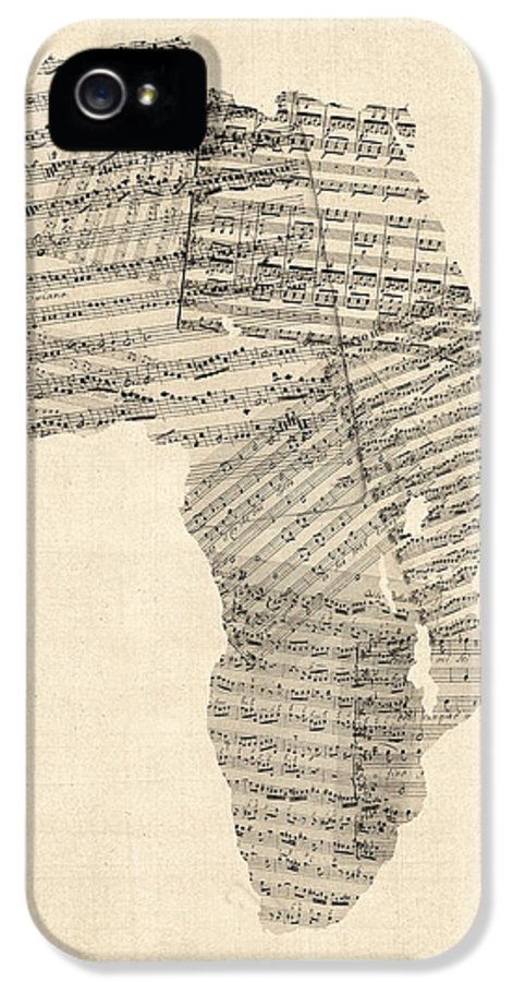 Africa Map IPhone 5 Case featuring the digital art Old Sheet Music Map Of Africa Map by Michael Tompsett