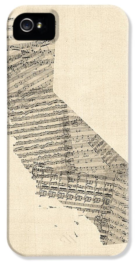 California Map IPhone 5 Case featuring the digital art Old Sheet Music Map Of California by Michael Tompsett