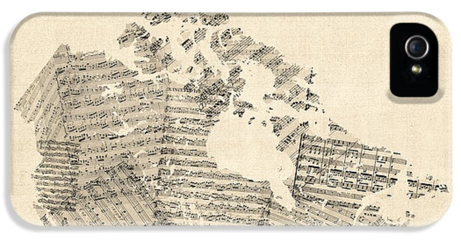 Canada Map IPhone 5 Case featuring the digital art Old Sheet Music Map Of Canada Map by Michael Tompsett