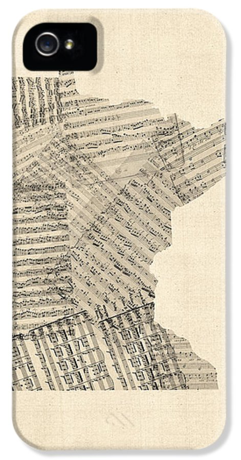 United States Map IPhone 5 Case featuring the digital art Old Sheet Music Map Of Minnesota by Michael Tompsett