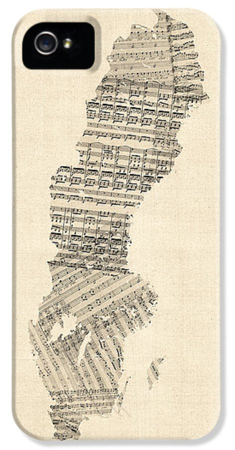Sweden Map IPhone 5 Case featuring the digital art Old Sheet Music Map Of Sweden by Michael Tompsett
