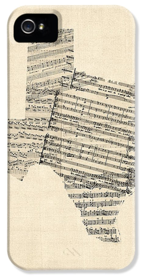 Texas IPhone 5 Case featuring the digital art Old Sheet Music Map Of Texas by Michael Tompsett