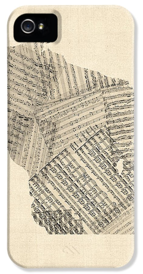United States Map IPhone 5 Case featuring the digital art Old Sheet Music Map Of Wisconsin by Michael Tompsett
