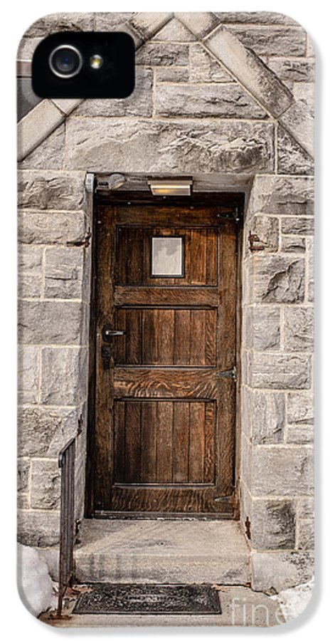 House IPhone 5 Case featuring the photograph Old Stone Church Door by Edward Fielding