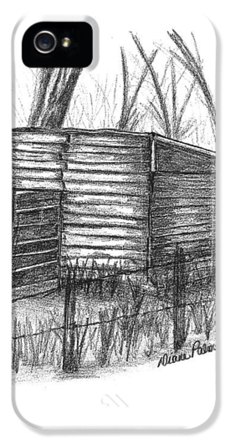 Old Wood IPhone 5 Case featuring the drawing Old Wooden Shed by Diane Palmer