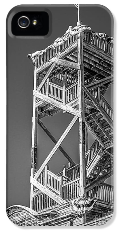 America IPhone 5 Case featuring the photograph Old Wooden Watchtower Key West - Black And White by Ian Monk