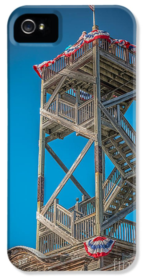America IPhone 5 Case featuring the photograph Old Wooden Watchtower Key West - Hdr Style by Ian Monk