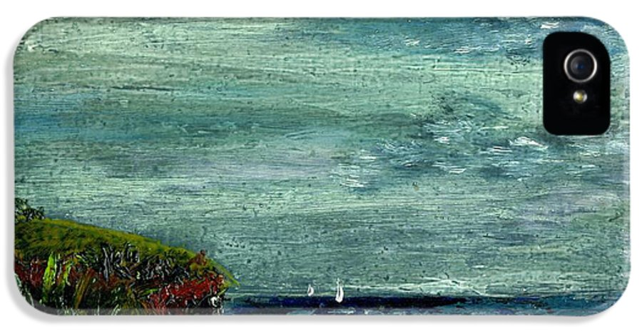 Sky Bluff Quiet Seascape Sail Boats Wind Sailboat Ocean Water Clouds Moving Cathy Peterson Ventura California Listed Artist Watercolor Oil Paint Painting Modern Contemporary Impressionist Impressionism Expressionist Abstract Realism Minimalism Rural Scenes Fantasy Original Works Pen Pencil Graphic Colored Pencils India Ink Gouache Mixed Media House Coffee Fine Design Oeuvre Printmaking Santa Barbara Cloth Panels Paper Drawings Sketches Experimental Ideas Dekalb 1964 Painter Interpretive Art IPhone 5 Case featuring the painting On A Bluff Over The Sea Looking At Sailboats by Cathy Peterson