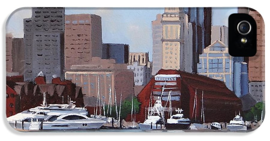 Boston IPhone 5 Case featuring the painting On A Clear Day by Laura Lee Zanghetti
