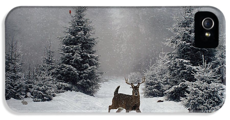 Winter IPhone 5 Case featuring the digital art On A Snowy Evening by Lianne Schneider