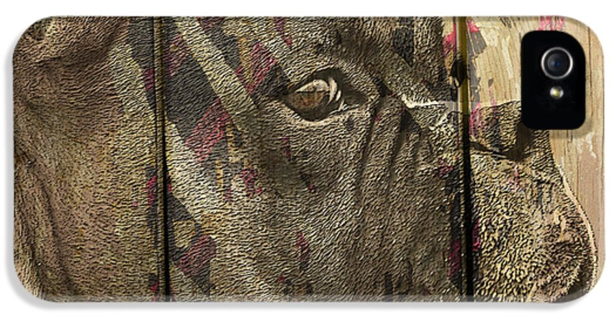 Boxer Dog IPhone 5 / 5s Case featuring the digital art On The Fence by Judy Wood
