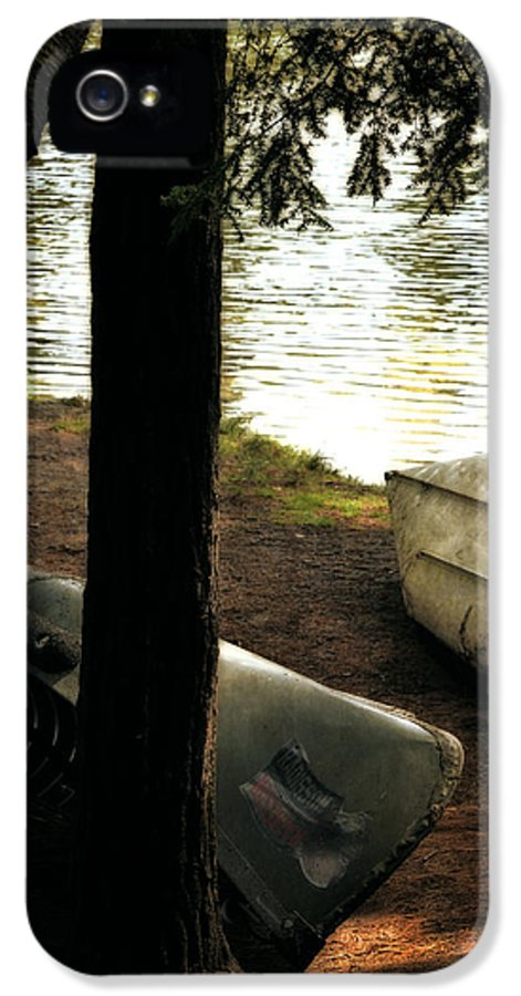 Canoe IPhone 5 Case featuring the photograph On The Island by Michelle Calkins