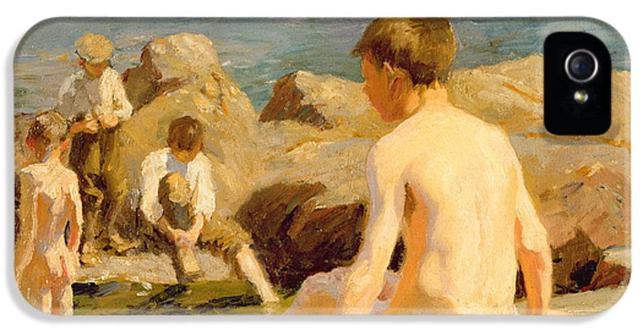 Boys IPhone 5 Case featuring the painting On The Rocks Near Newlyn by Harold Harvey