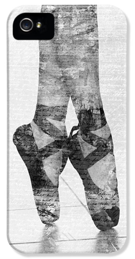 Ballet IPhone 5 Case featuring the digital art On Tippie Toes In Black And White by Nikki Marie Smith